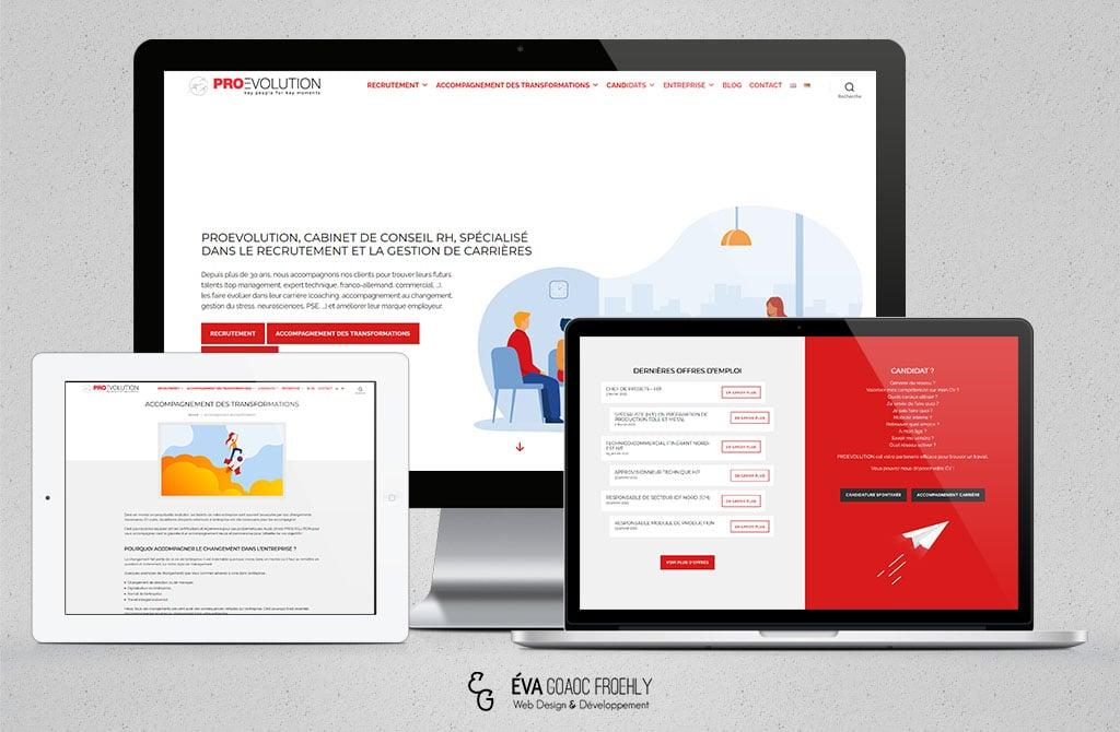 Proevolution evago.fr Eva Goaoc création de site web WordPress webdesign