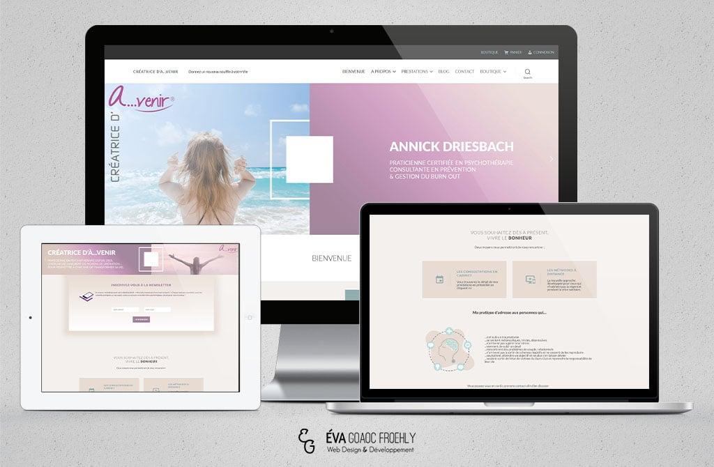 Creatrice d'a...venir evago.fr Eva Goaoc création de site web WordPress webdesign