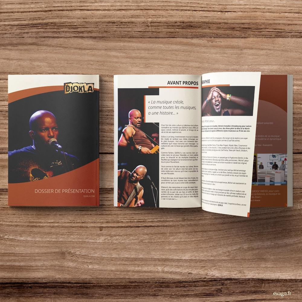 evago.fr Eva Goaoc Mulhouse Print Design Graphiste Dossier de présentation d'artiste musicien Catalogue A4